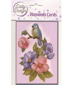 Diamond card, fugl på blomst / 10x15 cm