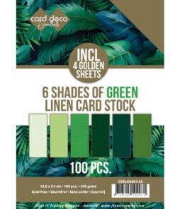 Karton linnen, grøn A5 / Pk. med 100 ark