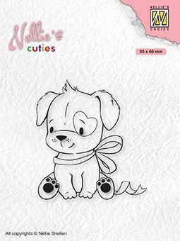 Stempel / Dog with Christmas bow / Nellie Snellen